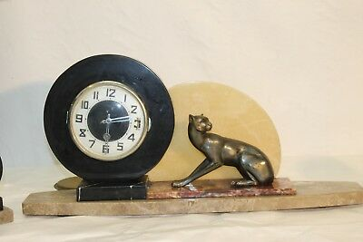 antique French art deco marble clock  puma tiger... figural  1920ths
