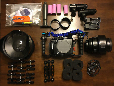 Nauticam Underwater Housing for Sony A6000 W/ Video Lights dome macro port case