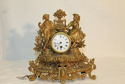 ANTIQUE 1800ths GILTED french romantic clock