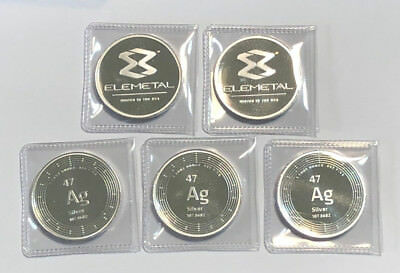 A Lot of 5 1 oz .999 Fine Silver Elemetal Mint Periodic Table Rounds