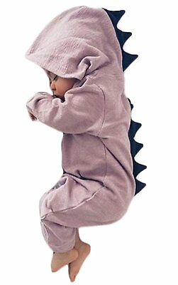 Baby Boys Girls Cartoon Dinosaur Long Sleeve Hooded Romper Zipper Jumpsuit
