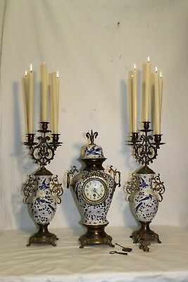 Antique DUTCH clockset candelabra porcelain clock, Delft ,Late 19c