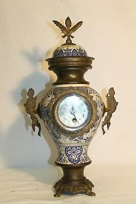 Antique DUTCH clock  porcelain clock, Delft ,BRONZE Late 19c