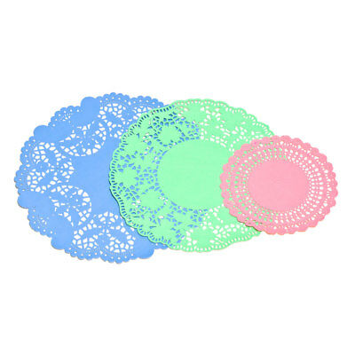 Set of 30 Assorted Blue/Green/Pink Paper Lace Doilies in 3 Sizes Round Coasters
