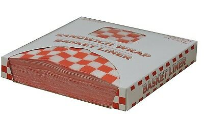"""1000 ct - Restaurant Deli 12""""x12 Paper Food / Basket Liner Wrap,  Red Checkered"""