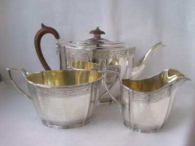 Good Georgian STYLE Solid Sterling Silver 3-Piece Tea Set 1946/ 1025 g