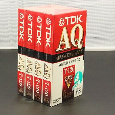 Lot of Four (4) TDK AQ T-120 / 246m Super Avilyn (6 Hr EP Mode) Blank VHS Tapes