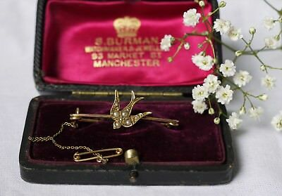 Beautiful Art Deco 9Ct Gold Seed Pearl Swallow Brooch With Antique Box