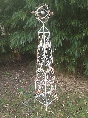 White Garden Obelisk, Plant Support, Structure, Feature, Ornate Metal