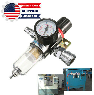 "AFR-2000 1/4"" Air Compressor Filter Water Separator Trap Tool W/ Regulator Gauge"
