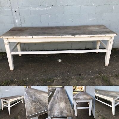 250cm Long, Antique, Oak, French Farm Table, Vintage, Original Paint, Refectory