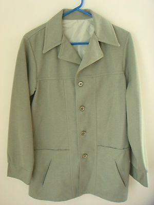 Retro Mod Vintage'70's Green Big Collar Leisure Suit Jacket, Polyester, Large