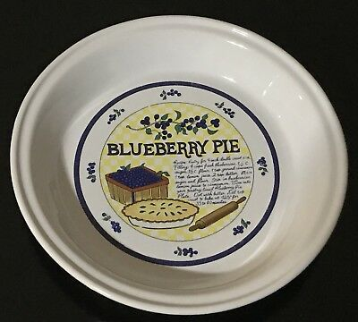 VINTAGE BLUEBERRY PIE PLATE w / RECIPE 10  DEEP DISH CERAMIC INDOOR OUTFITTERS : deep pie plate - pezcame.com