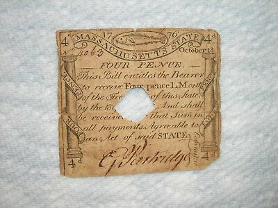 MASSACHUSETTS Oct 18, 1776 PAUL REVERE CODFISH 4 PENCE COLONIAL CURRENCY NOTE