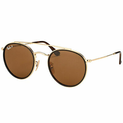 Ray-Ban RB 3647N 001 57 Round Double Bridge Gold Brown Sunglasses Brown  Polarize 0f1810f4aefe