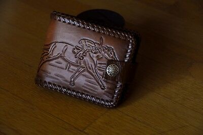 vintage hand tooled brown leather wallet w. racehorse design