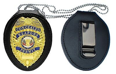 CCW RECESSED Holder with CLIP  + NECK CHAIN police swat pistol gun NO Badge