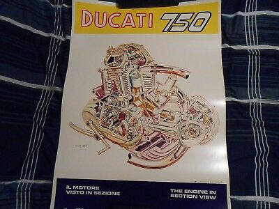 Ducati 750  Cutaway Engine  Poster     Domiracer
