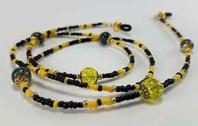 Beaded Eyeglass Chain Holder Necklace Strap Bumble Bee Yellow and Black