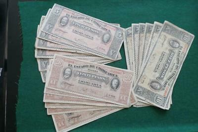 1914 MEXICO REVOLUTION 5,10,20 PESOS BANK NOTE Chihuahua 30 Pcs.