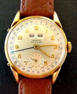 Regatta De Luxe Triple Date Calendar Vintage Elegant Men's Watch 1950