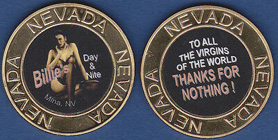 Billie's Day & Nite Nevada Brothel Gold Metal Cathouse Card Guard Token