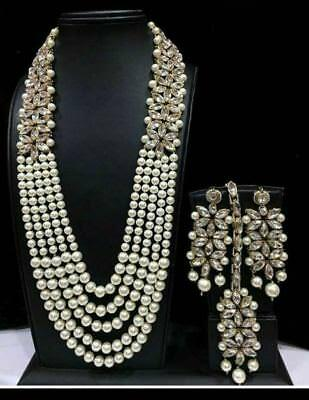 Indian Designer Necklace Earrings Pearl Bridal Wedding Gold Fashion