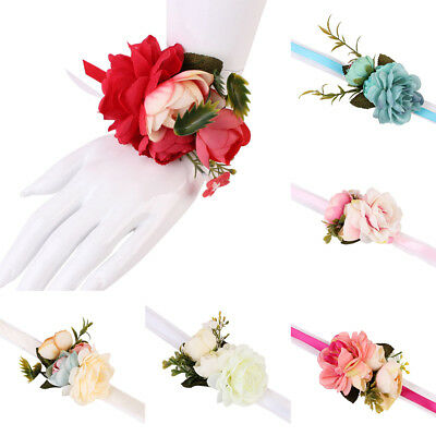 HK- Wedding Party Wrist Corsage Bracelet Bridal Bridesmaid Hand Wrist Flowers Fa