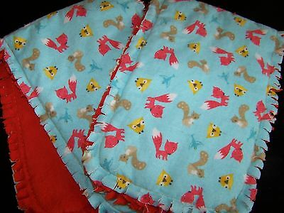 "CLEARANCE! Handmade Baby ""Rag"" Burp Cloths Set of 2 - Forest Animals"