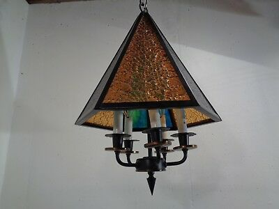Vintage Multi Colored Stained Glass Hanging  Lamp Light Mid Century Modern