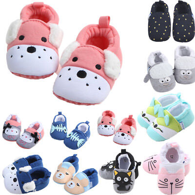 Lot Color Baby Shoes Boy Girl Soft Sole Animal Crib Shoes Size For 3-11month