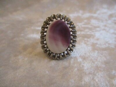 Vintage Purple and White Wampum Quahog Shell Silver Adjustable Ring