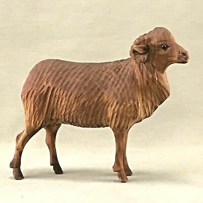 "Antique Wood Carved Ram Sheep - Very Rare!! 6 1/2""long UNC?"