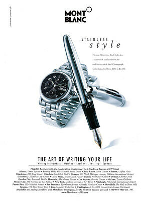 Mont Blanc watch and pen print ad 2000 Meisterstuck