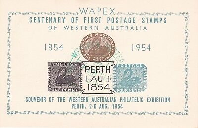 APD74) WAPEX 1954 centenary exhibition card bearing reproductions
