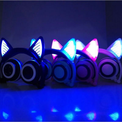 Kids Wireless Bluetooth Headset Cat Ear Headphones Foldable LED Light Earphones