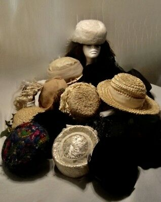 VINTAGE WOMEN'S HATS BY LOT  18 TOTAL 50's - 70's  SOME LABELED ALL XLNT CONT.