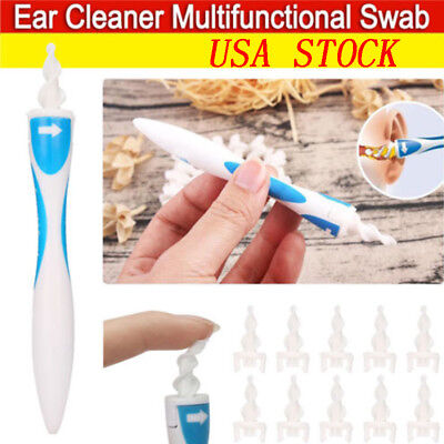 USA STOCK Soft Ear Wax Cleaner Removal Multi Swab Earwax Remover Spiral Tip Tool