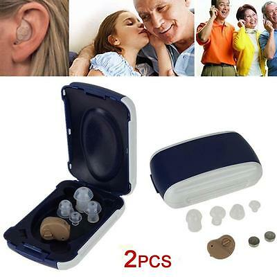 2pcs Small In Ear Invisible Best Sound Amplifier Adjustable Tone Hearing Aids 0P