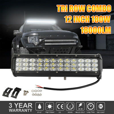 12Inch 180W LED Work Light Bar Combo Offroad for Jeep Truck Boat 4WD 12V-24V