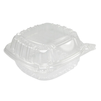 A World Of Deals Small Clear Plastic Hinged  Container for Sandwich Salad Party