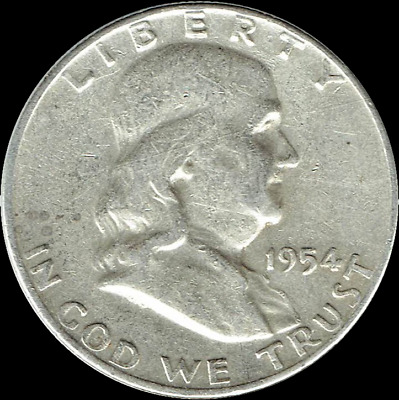 "A 1954 D Franklin Half Dollar 90% SILVER US Mint ""Average Circulation"""