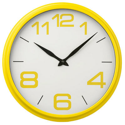Premier Housewares Wall Clock, Round Yellow Plastic Frame, Large Numbers
