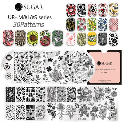 UR SUGAR Nail Stamping Plates Lace Stainless Steel Template  30Patterns