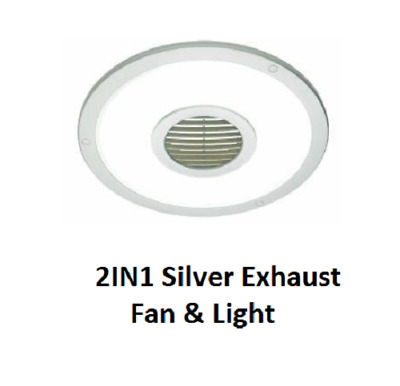 Heller 25cm Silver Exhaust Fan Air Flow Round Ceiling Light Bathroom Ventilation