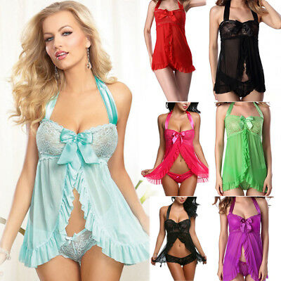 USWomen Lace Sexy-Lingerie Nightwear Underwear G-string Babydoll Sleepwear Dress