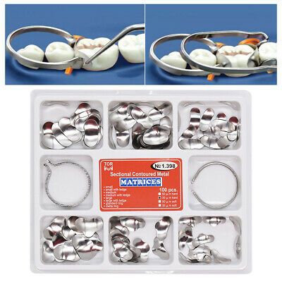 100Pcs/Pack Dental Sectional Contoured Metal Matrices 35 μm +2pcs Ring Kit