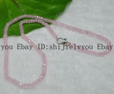Fine 2x4mm Pink Jade Faceted Roundel Gems Beads Necklace Silver Clasp AAA