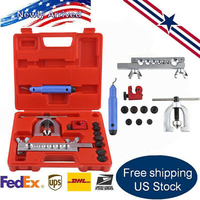 Double Flaring Brake Line Tool Kit Tubing Car Truck Tool with Mini Pipe Cutter H