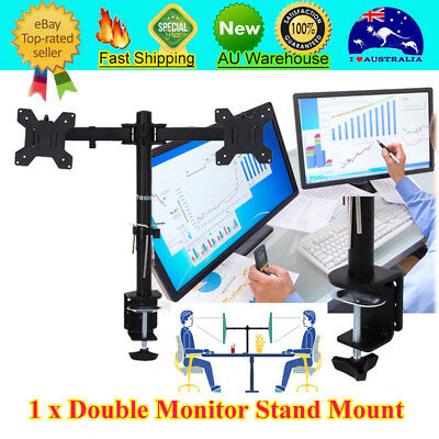Double LED Monitor Stand LCD Screen TV PC Desk Mount Bracket 2 Arm Holder 27''